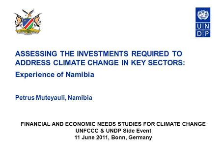 ASSESSING THE INVESTMENTS REQUIRED TO ADDRESS CLIMATE CHANGE IN KEY SECTORS: Experience of Namibia Petrus Muteyauli, Namibia FINANCIAL AND ECONOMIC NEEDS.
