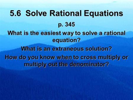 How to write a rational equation