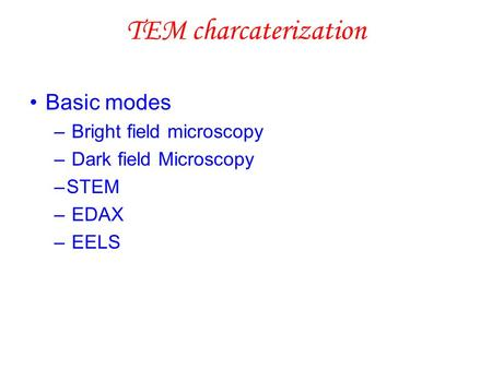 TEM charcaterization Basic modes – Bright field microscopy – Dark field Microscopy –STEM – EDAX – EELS.
