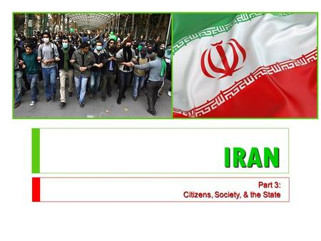 IRAN Part 3: Citizens, Society, & the State. Cleavages  Religion  90% are Shia Muslim  10% are Sunni Muslim  1% = Jews, Christians, Zoroastrian, Ba'hai.