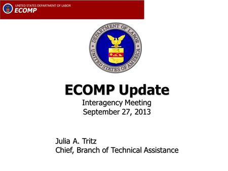 ECOMP Update Interagency Meeting September 27, 2013 Julia A. Tritz Chief, Branch of Technical Assistance.