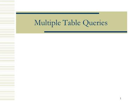1 Multiple Table Queries. 2 Objectives  Retrieve data from more than one table by joining tables  Using IN and EXISTS to query multiple tables  Nested.