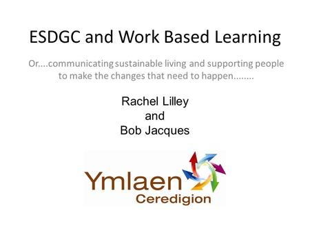 ESDGC and Work Based Learning Or....communicating sustainable living and supporting people to make the changes that need to happen........ Rachel Lilley.