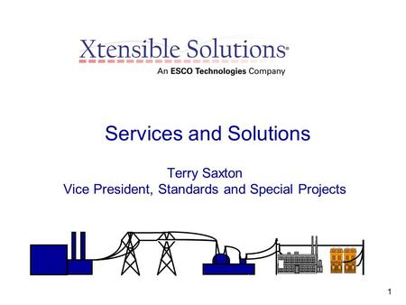 1 Services and Solutions Terry Saxton Vice President, Standards and Special Projects.