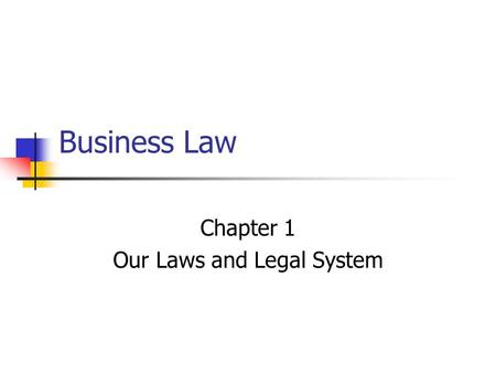 Business Law Chapter 1 Our Laws and Legal System.