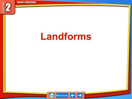 Landforms Forces inside and outside Earth produce Earth's diverse landforms. 2.1 Landforms Landforms are features such as mountains, plateaus, and plains.