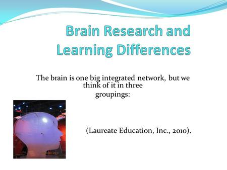 The brain is one big integrated network, but we think of it in three groupings: (Laureate Education, Inc., 2010).