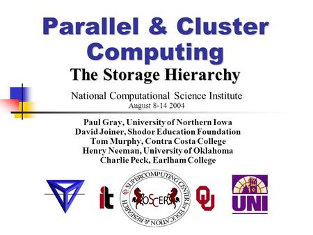 Parallel & Cluster Computing The Storage Hierarchy Paul Gray, University of Northern Iowa David Joiner, Shodor Education Foundation Tom Murphy, Contra.