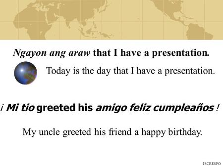 Ngayon ang araw that I have a presentation. ¡ Mi tio greeted his amigo feliz cumpleaños ! Today is the day that I have a presentation. My uncle greeted.