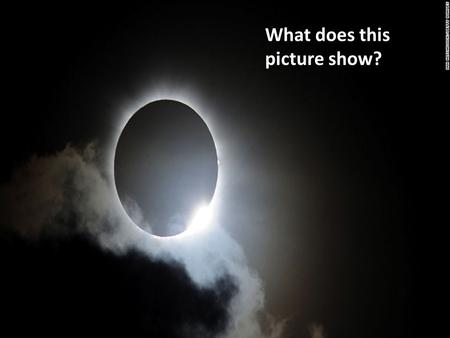 What does this picture show?. Solar Eclipse Friday March 20 th 2015 To be able to explain what happens during a solar eclipse.