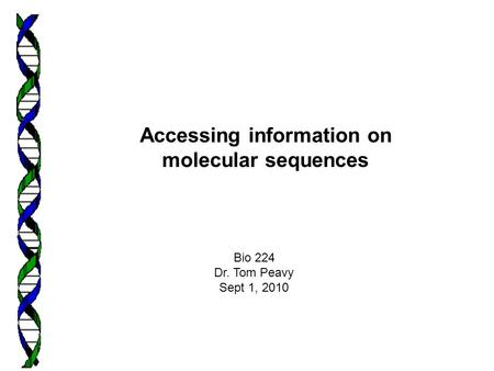 Accessing information on molecular sequences Bio 224 Dr. Tom Peavy Sept 1, 2010.