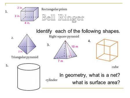 Identify each of the following shapes. In geometry, what is a net? what is surface area? cube Triangular pyramid Right square pyramid Rectangular prism.