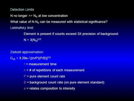 Detection Limits N no longer >> N B at low concentration What value of N-N B can be measured with statistical significance? Liebhafsky limit: Element is.
