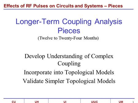 Effects of RF Pulses on Circuits and Systems – Pieces UMCUUI C 1 UIUCUH Longer-Term Coupling Analysis Pieces Develop Understanding of Complex Coupling.