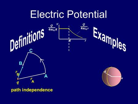 Electric Potential q A C B r A B r path independence a a Rr VQ 4   r Q 4   R.