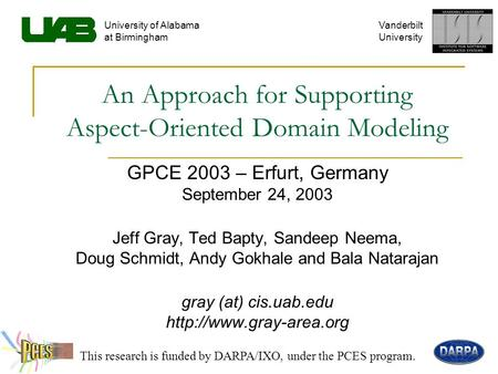 An Approach for Supporting Aspect-Oriented Domain Modeling GPCE 2003 – Erfurt, Germany September 24, 2003 Jeff Gray, Ted Bapty, Sandeep Neema, Doug Schmidt,
