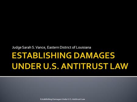 Judge Sarah S. Vance, Eastern District of Louisiana Establishing Damages Under U.S. Antitrust Law.