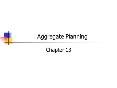 Aggregate Planning Chapter 13. MGMT 326 Foundations of Operations Introduction Strategy Managing Projects Quality Assurance Facilities & Work Design Products.