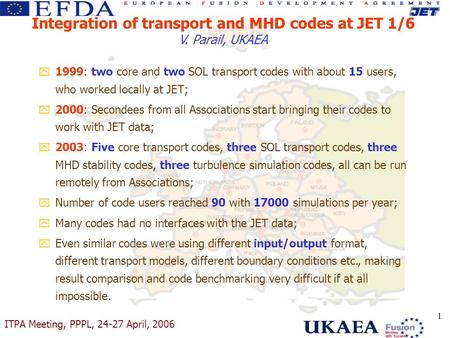 ITPA Meeting, PPPL, 24-27 April, 2006 1 y1999: two core and two SOL transport codes with about 15 users, who worked locally at JET; y2000: Secondees from.