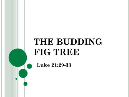 THE BUDDING FIG TREE Luke 21:29-33. BUDS GIVE EVIDENCE Literally, plants tell of God's faithfulness – Gen. 8:20-22 Sprouting buds are the forerunners.