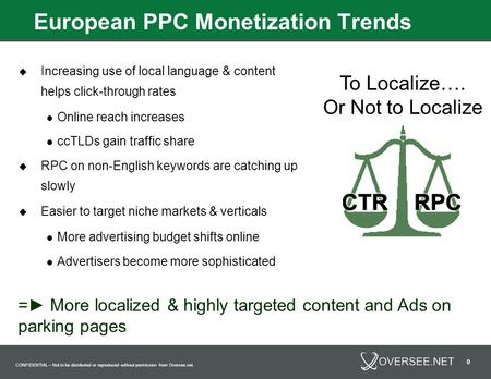 CONFIDENTIAL – Not to be distributed or reproduced without permission from Oversee.net. 0 European PPC Monetization Trends  Increasing use of local language.