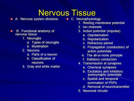 Nervous Tissue A. Nervous system divisions B. Functional anatomy of nervous tissue B. Functional anatomy of nervous tissue 1. Neuroglia 1. Neuroglia a.