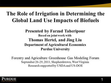 The Role of Irrigation in Determining the Global Land Use Impacts of Biofuels 1 Presented by Farzad Taheripour Based on joint work with Thomas Hertel,