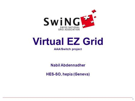 1 Virtual EZ Grid AAA/Switch project Nabil Abdennadher HES-SO, hepia (Geneva)