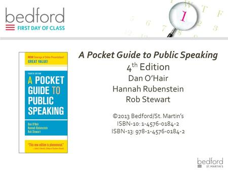 A Pocket Guide to Public Speaking 4 th Edition Dan O'Hair Hannah Rubenstein Rob Stewart ©2013 Bedford/St. Martin's ISBN-10: 1-4576-0184-2 ISBN-13: 978-1-4576-0184-2.