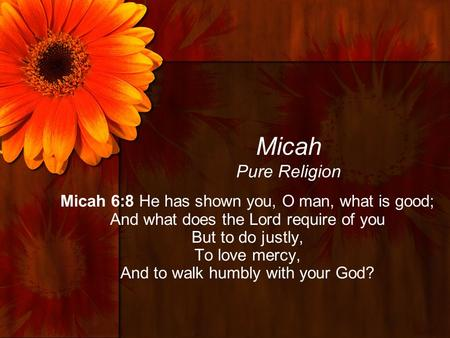 Micah Pure Religion Micah 6:8 He has shown you, O man, what is good; And what does the Lord require of you But to do justly, To love mercy, And to walk.