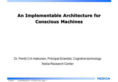 An Implementable Architecture for Conscious Machines