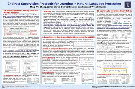 Indirect Supervision Protocols for Learning in Natural Language Processing II. Learning by Inventing Binary Labels This work is supported by DARPA funding.