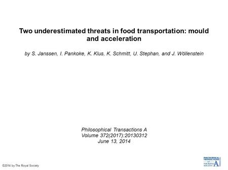 Two underestimated threats in food transportation: mould and acceleration by S. Janssen, I. Pankoke, K. Klus, K. Schmitt, U. Stephan, and J. Wöllenstein.