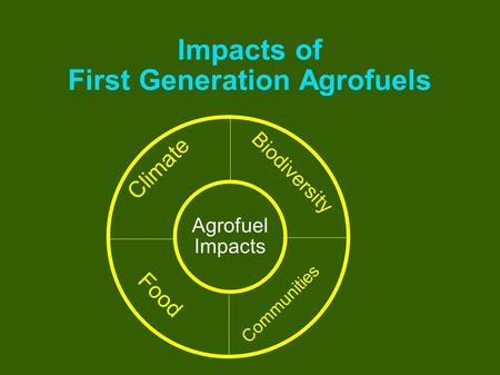 Impacts of First Generation Agrofuels Food Communities Biodiversity Climate Agrofuel Impacts.