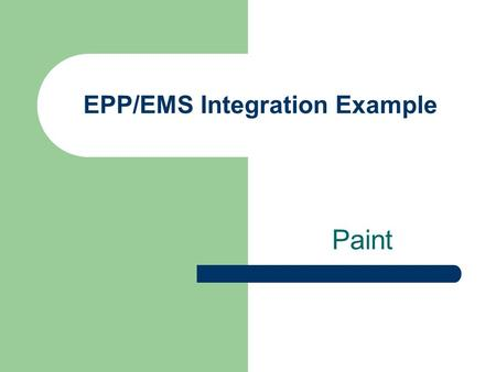 EPP/EMS Integration Example Paint. Points of Integration in EMS Environmental Policy Environmental Aspects Legal and Other Requirements Objectives, Targets.