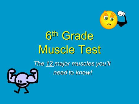 6 th Grade Muscle Test The 12 major muscles you'll need to know! need to know!