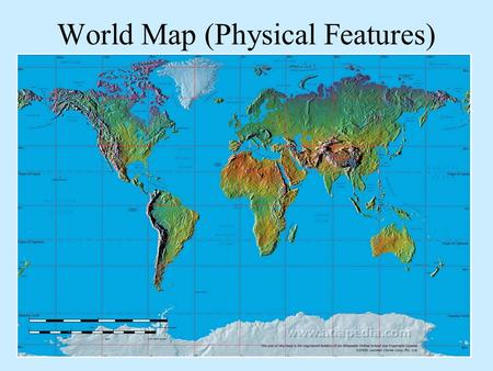 World Map (Physical Features). SE Asia / Pacific.