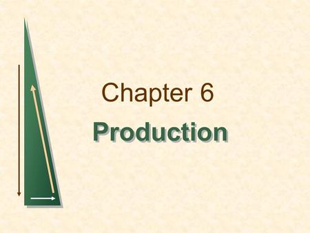 Chapter 6 Production. Chapter 6Slide 2 The Technology of Production The Production Process Combining inputs or factors of production to achieve an output.
