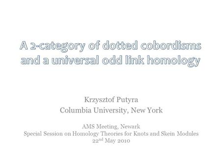 AMS Meeting, Newark Special Session on Homology Theories for Knots and Skein Modules 22 nd May 2010 Krzysztof Putyra Columbia University, New York.