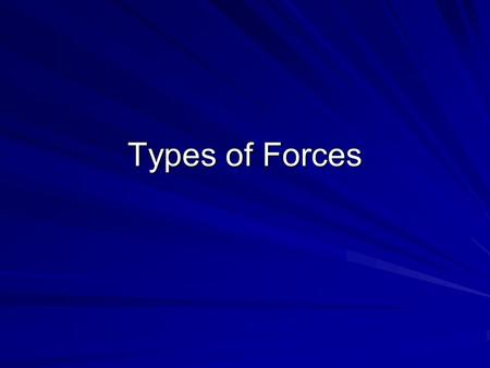 Types of Forces.