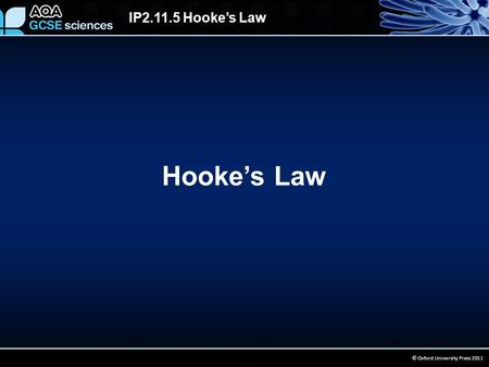 IP2.11.5 Hooke's Law © Oxford University Press 2011 Hooke's Law.