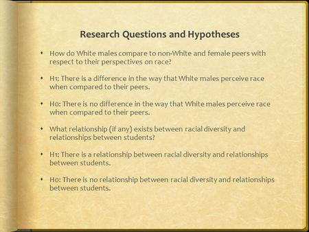 Research Questions and Hypotheses  How do White males compare to non-White and female peers with respect to their perspectives on race?  H1: There is.