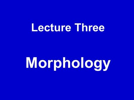 Lecture Three Morphology. I. Open class and closed class, morphology  Open class: nouns, verbs, adjectives and adverbs to which new words can be added.