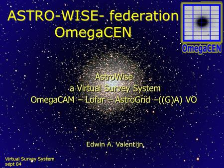 Virtual Survey System sept 04 ASTRO-WISE- federation OmegaCEN AstroWise a Virtual Survey System OmegaCAM – Lofar – AstroGrid –((G)A) VO AstroWise a Virtual.