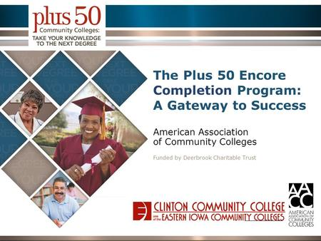 The Plus 50 Encore Completion Program: A Gateway to Success American Association of Community Colleges Funded by Deerbrook Charitable Trust Place College.