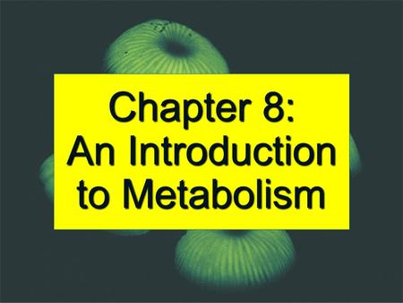 Chapter 8: An Introduction to Metabolism. Metabolism = Catabolism + Anabolism Catabolic reactions are energy yielding involved in the break down of more.