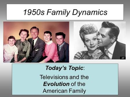 1950s Family Dynamics Today's Topic: Televisions and the Evolution of the American Family.