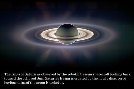 The rings of Saturn as observed by the robotic Cassini spacecraft looking back toward the eclipsed Sun. Saturn's E ring is created by the newly discovered.
