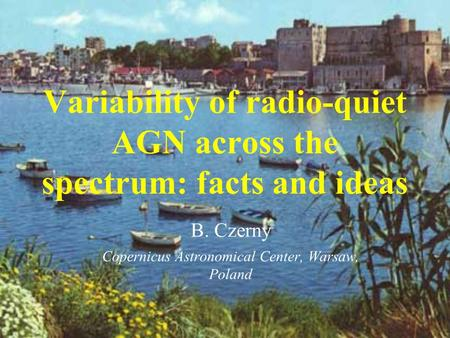 Variability of radio-quiet AGN across the spectrum: facts and ideas B. Czerny Copernicus Astronomical Center, Warsaw, Poland.