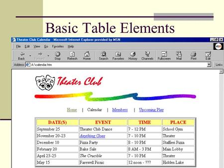 Basic Table Elements. 2 Objectives Define table elements Describe the steps used to plan, design, and code a table Create a borderless table with text.